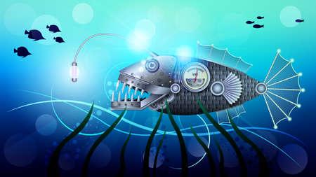 Mechanical steel metal fish under water, Steampunk.