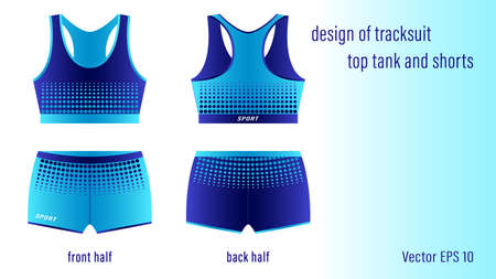 Design of tracksuit top tank and shorts