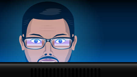 close up man in glasses work computer Stock Illustratie