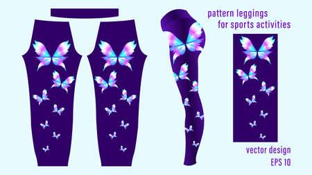 Gradient butterflies different colors, pattern black leggings.