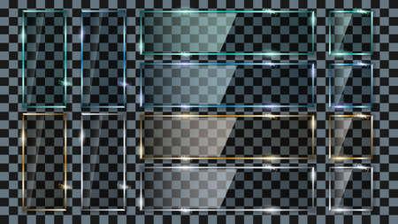Set glass transparent rectangle plates different colors