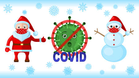 Coronavirus, Snowman Santa Klaus in a medical masks
