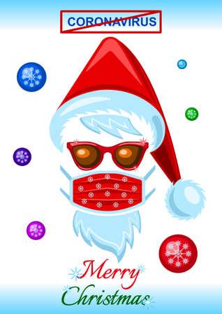 Coronavirus, headdress of Santa Claus, sunglasses and medical mask flat cartoon Illustration