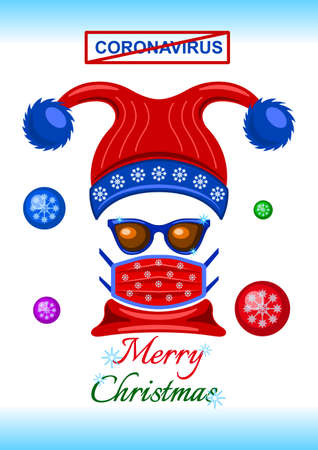 Coronavirus, headdress, sunglasses and medical mask flat cartoon