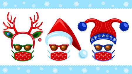 Coronavirus, Set headdress, sunglasses and medical mask flat cartoon