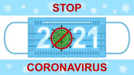 Stop coronavirus 2021, expanded medical mask and bacterium front view Stock Illustratie