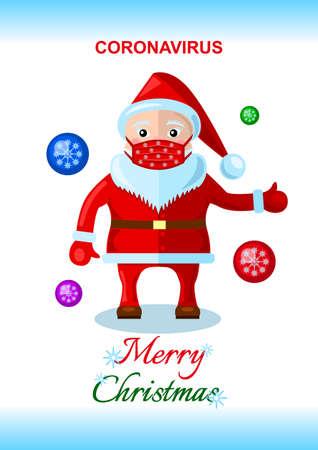 Coronavirus, Santa Claus in a medical mask isolated cartoon style