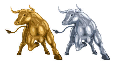 Metal heads of a bull isolated white background