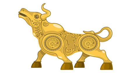 Metal gold bull, Chinese new year according to the Eastern calendar.