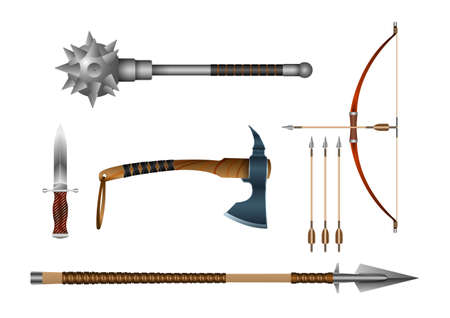 Realistic 3d Set Iron fighting cold weapon