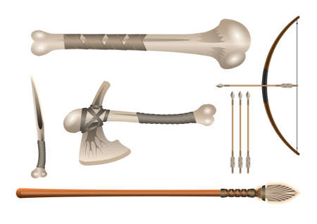 Realistic 3d Set Bone fighting cold weapon