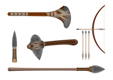 Realistic 3d Set Stone fighting cold weapon