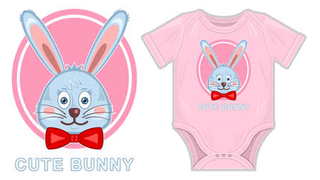 Cute bunny clothes for newborn mockup Flat cartoon