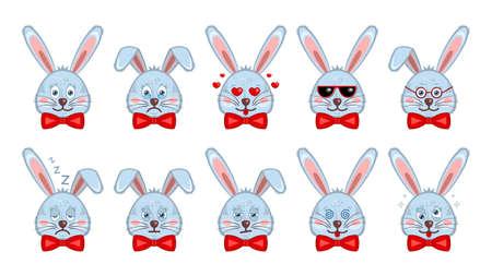 Set cute heads bunnies, rabbits flat cartoon style