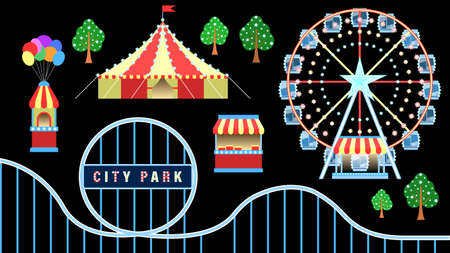 Amusement city park objects isolated black background Stock Illustratie