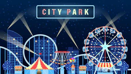 Amusement city park lights up at night flat cartoon Illustration