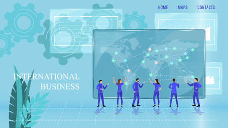 International Business Landing Page Cartoon Flat vector illustration Illustration