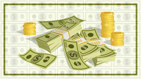 bundles of 100 dollar bills and stacks of gold coins cartoon Illustration