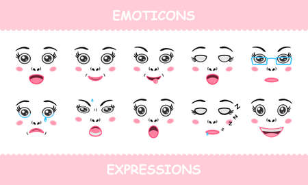 Set emoticons, faces expressions isolated cartoon flat Stock Illustratie