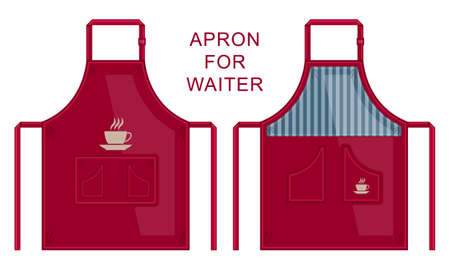 Set dark red fabric apron for waiter isolated cartoon flat