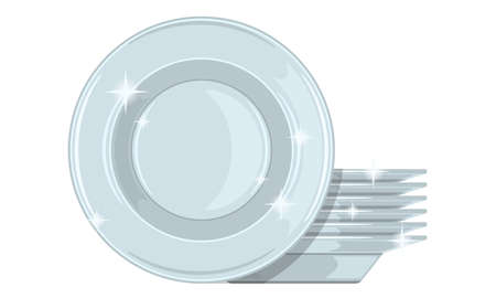 Stack of clean plates isolated realistic cartoon vector