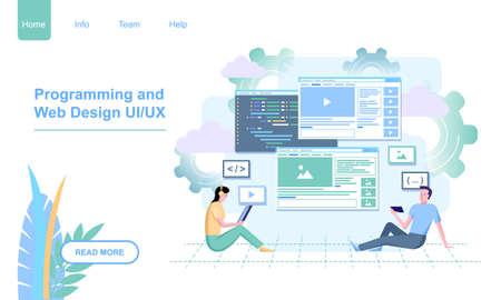 People Web Design UI UX landing page template flat Illustration