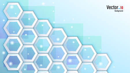 3d white paper or plastic hexagons on background Illustration