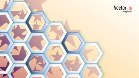 3d white paper or plastic hexagons on stars background