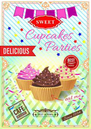 Poster cupcakes parties. Cake with cream in a waffle bowl on a mirror surface.