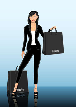 Young woman, brunette, holding shopping bags vector