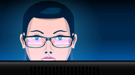 close up woman in glasses work computer Illustration