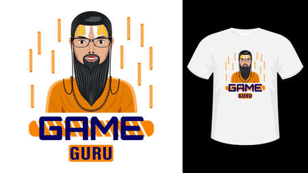 Game Guru, bearded man in glasses with painted face for print white shirt.