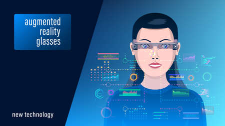 Extended reality XR, woman in augmented reality glasses
