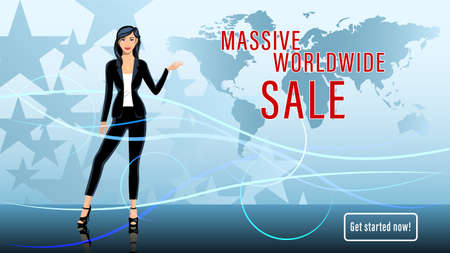 Young woman, brunette, Worldwide sale TV presenter. Illustration