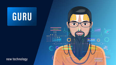 Guru, bearded man in glasses in front of a holographic interface, HUD