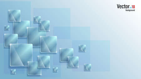 3d group glass plates on cold ice background Illustration