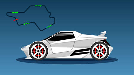 Modern white color sport car technology, side view.