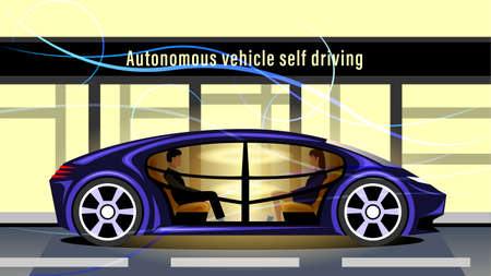 Autonomous Vehicle Self Driving, Driverless Smart Car Illustration