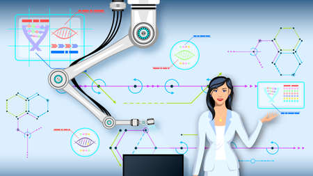 Woman and Robot Manipulator of Background Various Diagrams Illustration