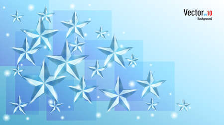 3d glass or ice shiny stars on background. Illustration