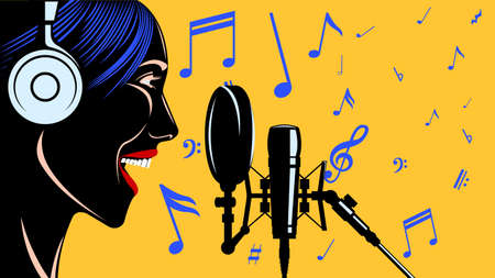 Singer woman head in headphones in front of the microphone. Illustration