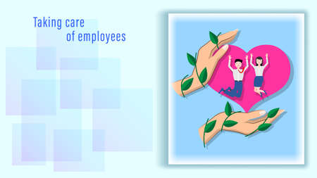Hands protect staff, employees of the company. Illustration