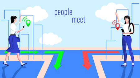 People meet using the Navigator app on their smartphone Illustration