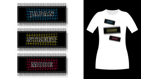 Japan street mode jeans patch print t-shirt