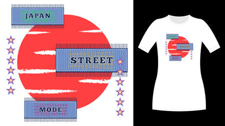 Japan street mode rectangle jeans patch print t-shirt