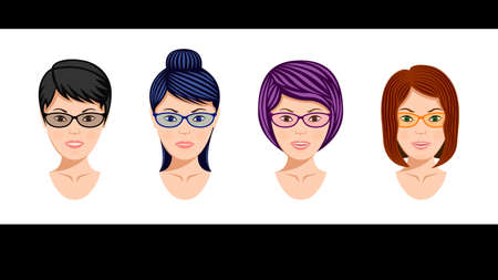 Set heads midle aged womens in glasses Illustration