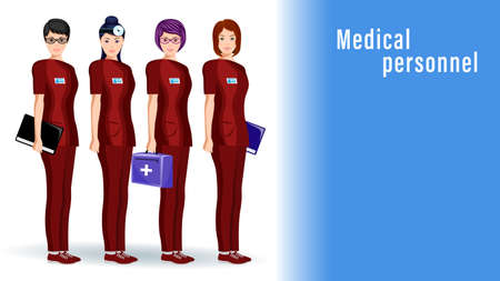Doctors, women medical workers stand in a row in overalls isolated. Illustration