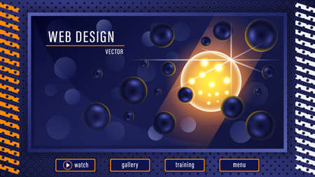 Fantastic 3d glowing transparent yellow ball in the middle dark blue balls background.