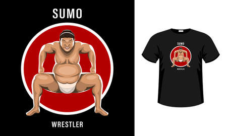 Sumo wrestler in the attack stance with a grimace of intimidation isolated Illustration