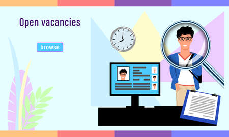 Recruitment agency. Open vacancies, detailed complex flat style.
